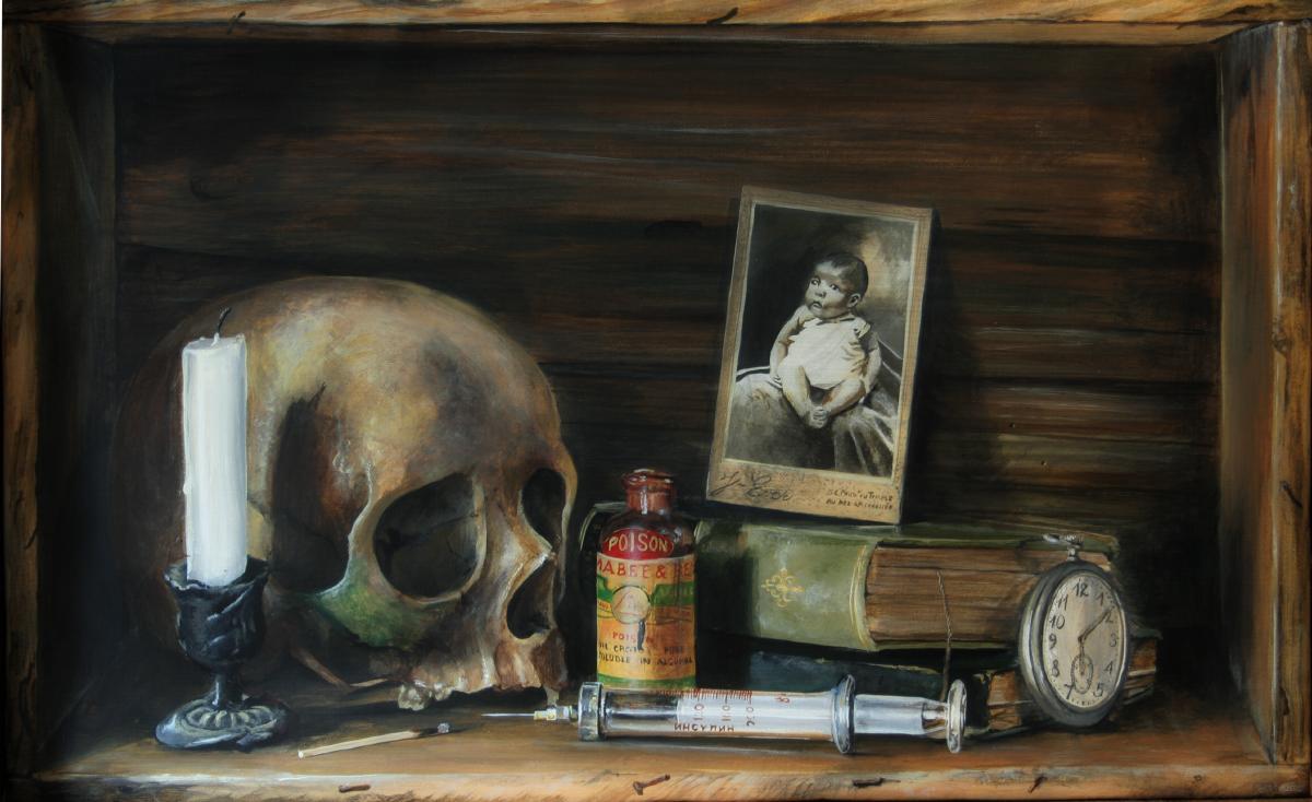 Vanité symbolisant l'enfance, la maladie, la culture, le temps qui passe et la mort